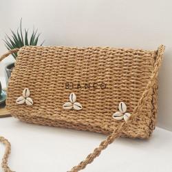 Τσάντα ψάθινη με κοχύλια