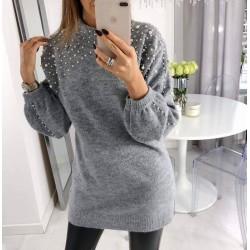 Μπλουζοφόρεμα πλεκτό με πέρλες