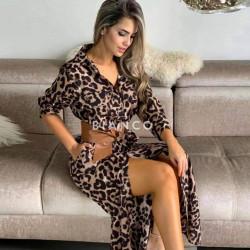 Φόρεμα leopard με ζώνη
