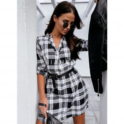 Φόρεμα καρό με ζώνη