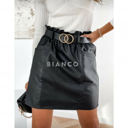 Φούστα eco leather με ζώνη