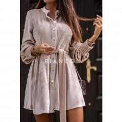 Φόρεμα velvet με ζώνη