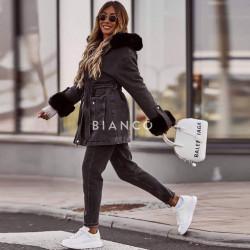 Μπουφάν jean με γούνα