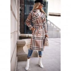 Παλτό suede καρό