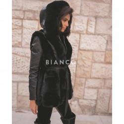 Τζάκετ eco leather με γούνα