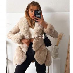 Παλτό eco leather με γούνα