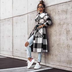 Παλτό καρό με ζώνη