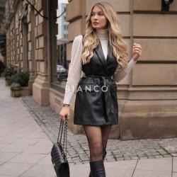 Φόρεμα αμάνικο eco leather