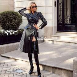 Παλτό eco leather με καρό
