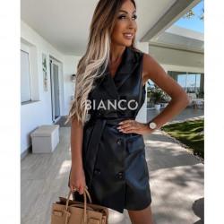 Φόρεμα eco leather αμάνικο