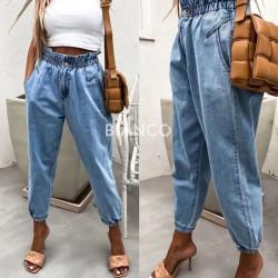 Παντελόνι jean mom με λάστιχο στη μέση