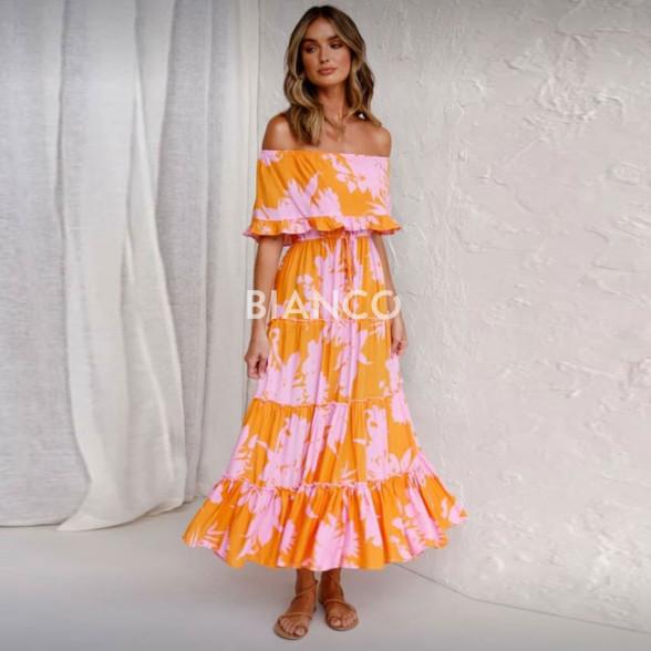 Φόρεμα floral strapless