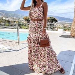 Σετ floral crop top & φούστα