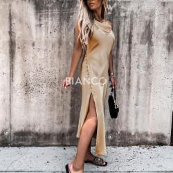 Φόρεμα σατινέ με σκίσιμο