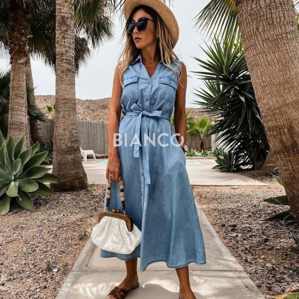 Φόρεμα jean με ζώνη