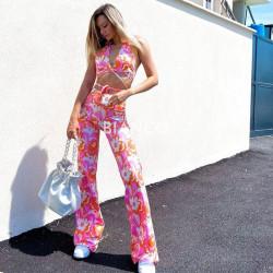 Σετ floral top & παντελόνι