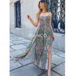 Φόρεμα floral με σκισίματα.