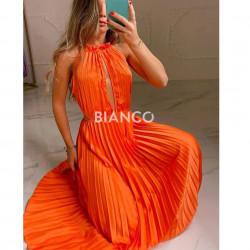 Φόρεμα σατινέ πλισέ