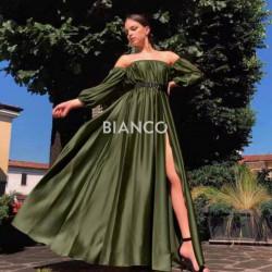 Φόρεμα σατινέ bardot με ζώνη