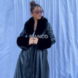 Παλτό eco leather με γούνα.