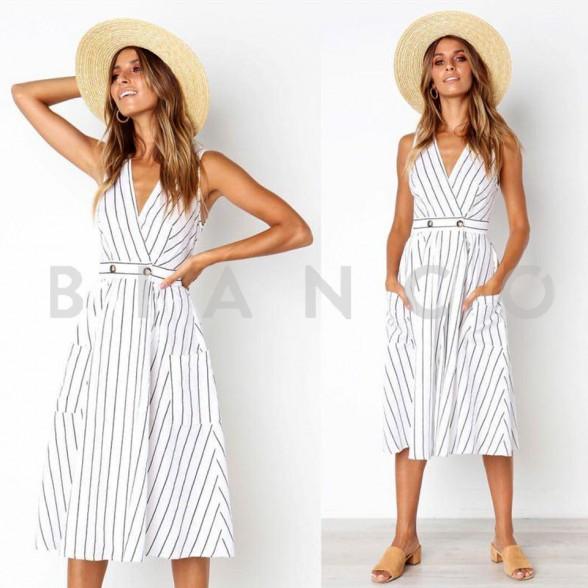d258b6477a20 Φόρεμα ριγέ με τσέπες - bianco.gr