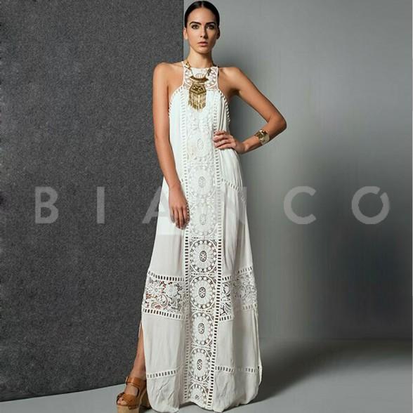 Φόρεμα maxi με δαντέλα - bianco.gr 96b60c46080