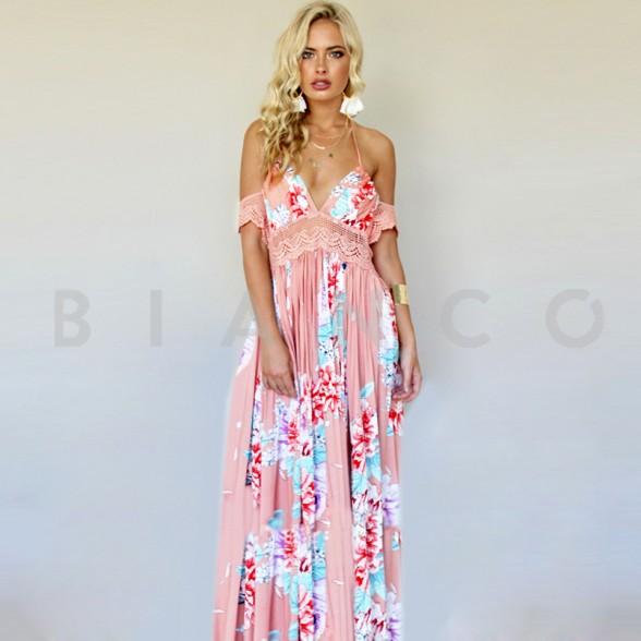 346096d1a009 Φόρεμα maxi Floral με χαμόγελο στους ώμους - bianco.gr