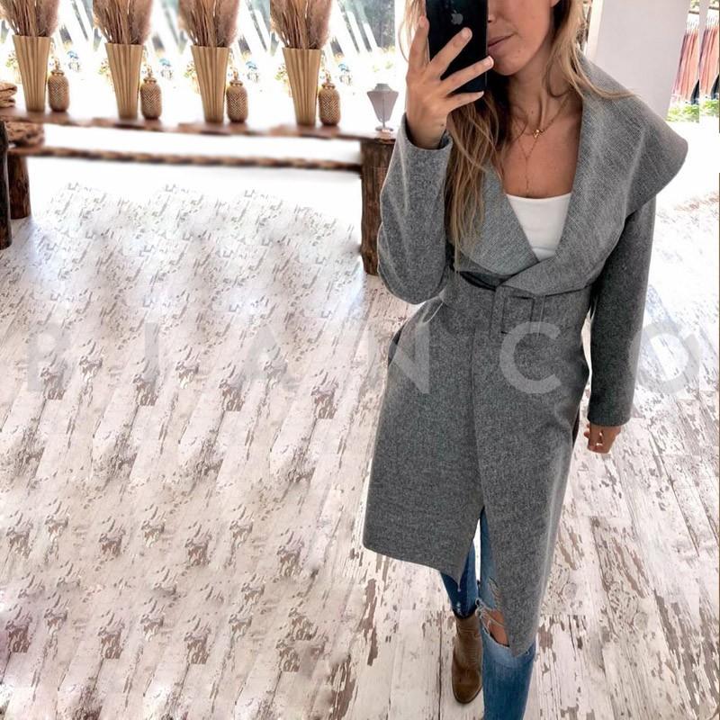Παλτό με γυριστό γιακά και ζώνη - bianco.gr 1edcb915456