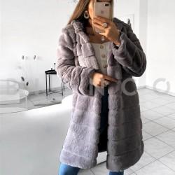 Παλτό γούνινο με κουκούλα