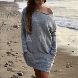 Πλεκτό φόρεμα με τσέπες