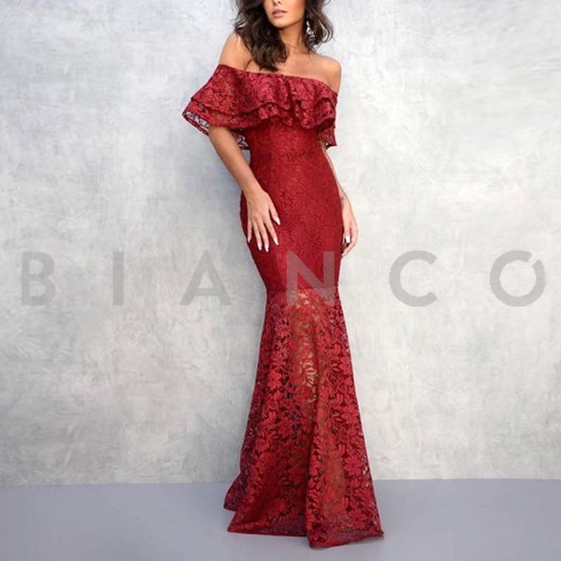 88e3be85e95 Φόρεμα maxi με δαντέλα - bianco.gr