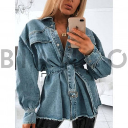 Πουκάμισο jean με ζώνη