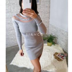 Φόρεμα πλεκτό με διαφάνεια