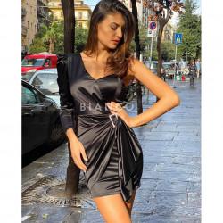 Φόρεμα σατινέ με ένα μανίκι