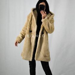 Παλτό fluffy με κουκούλα