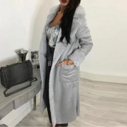 Παλτό suede με γούνα