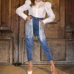Παντελόνι jean με κρόσσια strass