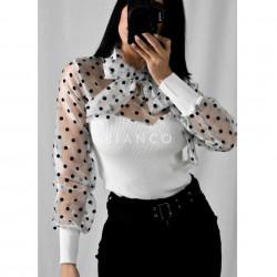 Μπλούζα με διαφάνεια πουά