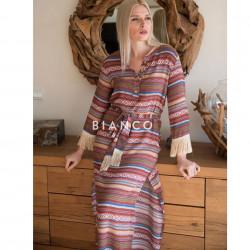 Φόρεμα boho με ζώνη
